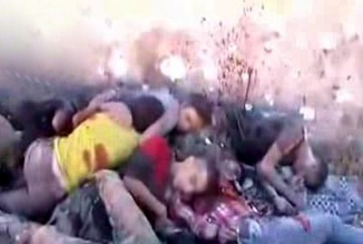 Same ritual murder (typical of cannibals groups affiliated with al-Qaeda and al-Nusra Front), with throats cut and bodies cut into pieces, it is reported in Banjas and Khan al-Assal as evidenced by these pictures (archive)