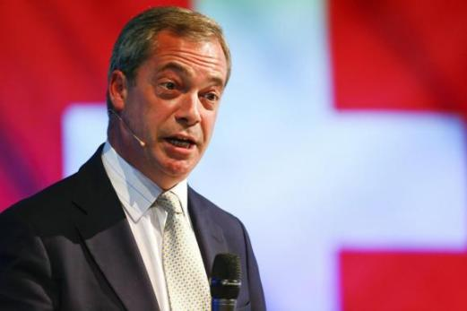 Farage, leader of the United Kingdom Independence Party delivers a speech during an extra-ordinary meeting of the AUNS in Winterthur