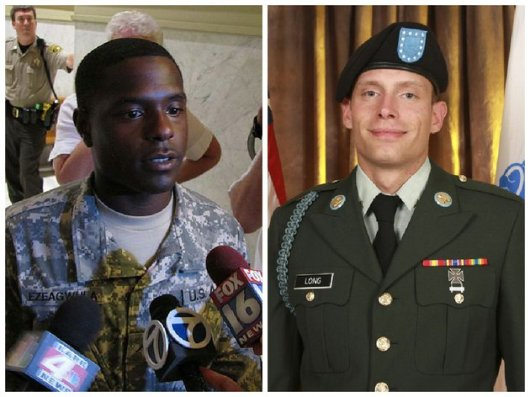 "Pvt.  Quinton Ezeagwula on left and the late Pvt. William ""Andy"" Long on right"